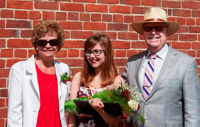 Delphine Patchett, Mackenzie Earle, Mayor Gil Brocanier